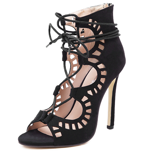 High-Heeled Lace-Up Shoes